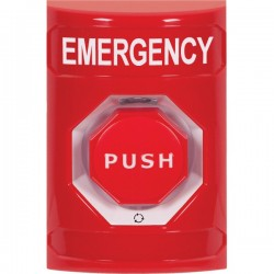 SS2009EM-EN STI Red No Cover Turn-to-Reset (Illuminated) Stopper Station with EMERGENCY Label English
