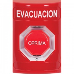 SS2009EV-ES STI Red No Cover Turn-to-Reset (Illuminated) Stopper Station with EVACUATION Label Spanish