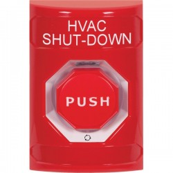 SS2009HV-EN STI Red No Cover Turn-to-Reset (Illuminated) Stopper Station with HVAC SHUT DOWN Label English
