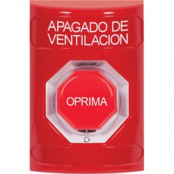 SS2009HV-ES STI Red No Cover Turn-to-Reset (Illuminated) Stopper Station with HVAC SHUT DOWN Label Spanish