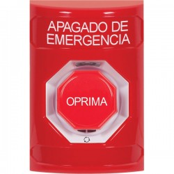 SS2009PO-ES STI Red No Cover Turn-to-Reset (Illuminated) Stopper Station with EMERGENCY POWER OFF Label Spanish