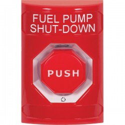SS2009PS-EN STI Red No Cover Turn-to-Reset (Illuminated) Stopper Station with FUEL PUMP SHUT DOWN Label English