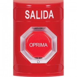 SS2009XT-ES STI Red No Cover Turn-to-Reset (Illuminated) Stopper Station with EXIT Label Spanish