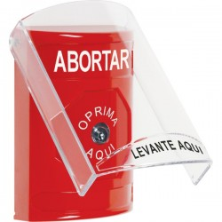 SS2020AB-ES STI Red Indoor Only Flush or Surface Key-to-Reset Stopper Station with ABORT Label Spanish