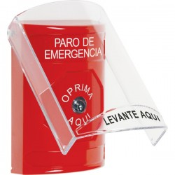 SS2020ES-ES STI Red Indoor Only Flush or Surface Key-to-Reset Stopper Station with EMERGENCY STOP Label Spanish