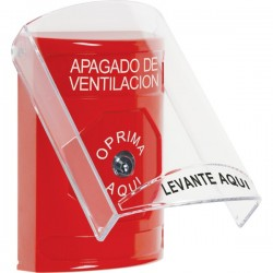 SS2020HV-ES STI Red Indoor Only Flush or Surface Key-to-Reset Stopper Station with HVAC SHUT DOWN Label Spanish