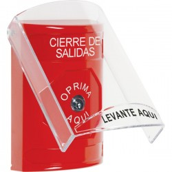 SS2020LD-ES STI Red Indoor Only Flush or Surface Key-to-Reset Stopper Station with LOCKDOWN Label Spanish