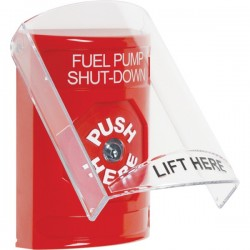 SS2020PS-EN STI Red Indoor Only Flush or Surface Key-to-Reset Stopper Station with FUEL PUMP SHUT DOWN Label English