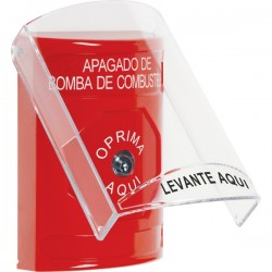 SS2020PS-ES STI Red Indoor Only Flush or Surface Key-to-Reset Stopper Station with FUEL PUMP SHUT DOWN Label Spanish