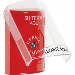 SS2020ZA-ES STI Red Indoor Only Flush or Surface Key-to-Reset Stopper Station with Custom Text Label Spanish