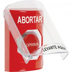 SS2021AB-ES STI Red Indoor Only Flush or Surface Turn-to-Reset Stopper Station with ABORT Label Spanish