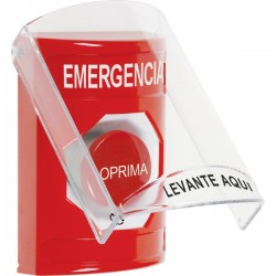 SS2021EM-ES STI Red Indoor Only Flush or Surface Turn-to-Reset Stopper Station with EMERGENCY Label Spanish