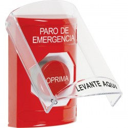 SS2021ES-ES STI Red Indoor Only Flush or Surface Turn-to-Reset Stopper Station with EMERGENCY STOP Label Spanish