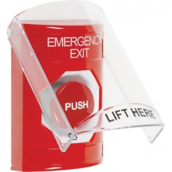 SS2021EX-EN STI Red Indoor Only Flush or Surface Turn-to-Reset Stopper Station with EMERGENCY EXIT Label English