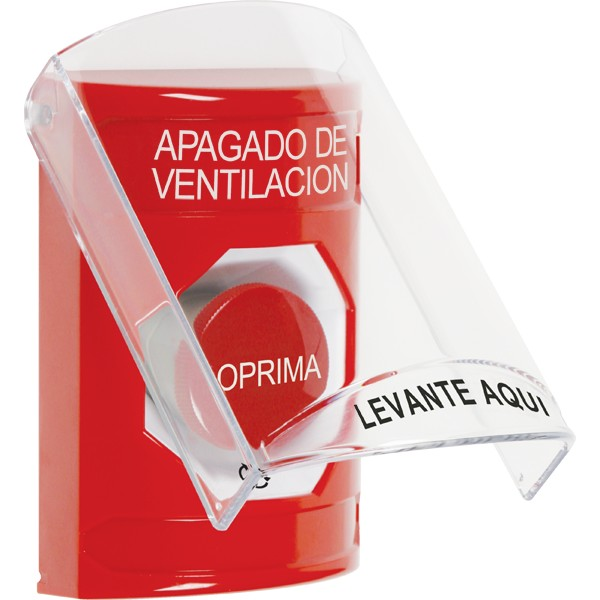 SS2021HV-ES STI Red Indoor Only Flush or Surface Turn-to-Reset Stopper Station with HVAC SHUT DOWN Label Spanish