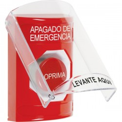 SS2021PO-ES STI Red Indoor Only Flush or Surface Turn-to-Reset Stopper Station with EMERGENCY POWER OFF Label Spanish