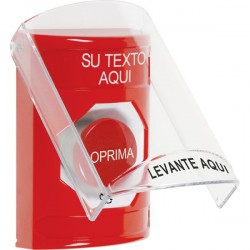 SS2021ZA-ES STI Red Indoor Only Flush or Surface Turn-to-Reset Stopper Station with Custom Text Label Spanish