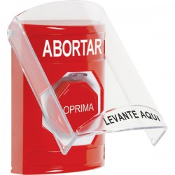 SS2022AB-ES STI Red Indoor Only Flush or Surface Key-to-Reset (Illuminated) Stopper Station with ABORT Label Spanish