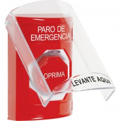 SS2022ES-ES STI Red Indoor Only Flush or Surface Key-to-Reset (Illuminated) Stopper Station with EMERGENCY STOP Label Spanish