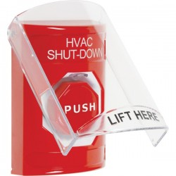 SS2022HV-EN STI Red Indoor Only Flush or Surface Key-to-Reset (Illuminated) Stopper Station with HVAC SHUT DOWN Label English