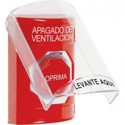 SS2022HV-ES STI Red Indoor Only Flush or Surface Key-to-Reset (Illuminated) Stopper Station with HVAC SHUT DOWN Label Spanish