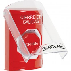 SS2022LD-ES STI Red Indoor Only Flush or Surface Key-to-Reset (Illuminated) Stopper Station with LOCKDOWN Label Spanish