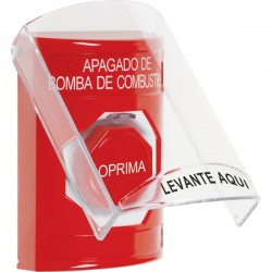 SS2022PS-ES STI Red Indoor Only Flush or Surface Key-to-Reset (Illuminated) Stopper Station with FUEL PUMP SHUT DOWN Label Spanish