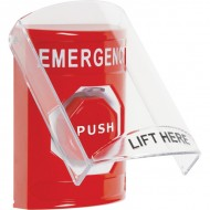 SS2025EM-EN STI Red Indoor Only Flush or Surface Momentary (Illuminated) Stopper Station with EMERGENCY Label English