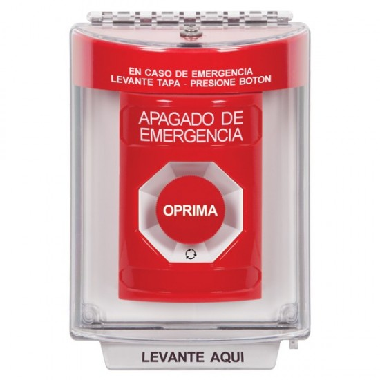 SS2031ES-ES STI Red Indoor/Outdoor Flush Turn-to-Reset Stopper Station with EMERGENCY STOP Label Spanish