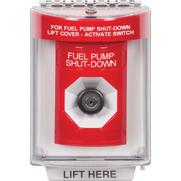 SS2033PS-EN STI Red Indoor/Outdoor Flush Key-to-Activate Stopper Station with FUEL PUMP SHUT DOWN Label English