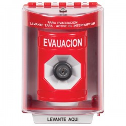 SS2083PO-ES STI Red Indoor/Outdoor Surface w/ Horn Key-to-Activate Stopper Station with EMERGENCY POWER OFF Label Spanish
