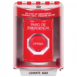 SS2085PO-ES STI Red Indoor/Outdoor Surface w/ Horn Momentary (Illuminated) Stopper Station with EMERGENCY POWER OFF Label Spanish