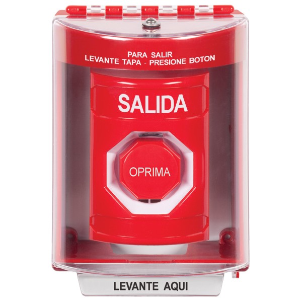 SS2088XT-ES STI Red Indoor/Outdoor Surface w/ Horn Pneumatic (Illuminated) Stopper Station with EXIT Label Spanish