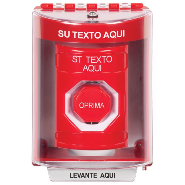 SS2088ZA-ES STI Red Indoor/Outdoor Surface w/ Horn Pneumatic (Illuminated) Stopper Station with Custom Text Label Spanish