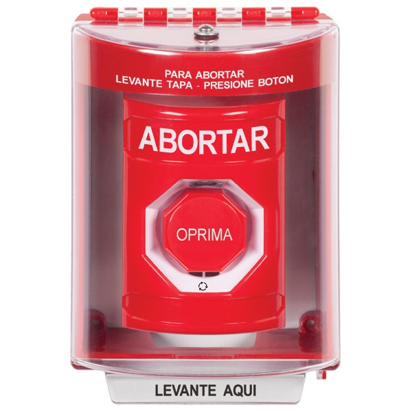 SS2089AB-ES STI Red Indoor/Outdoor Surface w/ Horn Turn-to-Reset (Illuminated) Stopper Station with ABORT Label Spanish