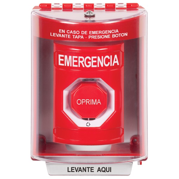 SS2089EM-ES STI Red Indoor/Outdoor Surface w/ Horn Turn-to-Reset (Illuminated) Stopper Station with EMERGENCY Label Spanish