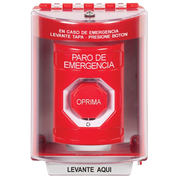 SS2089ES-ES STI Red Indoor/Outdoor Surface w/ Horn Turn-to-Reset (Illuminated) Stopper Station with EMERGENCY STOP Label Spanish