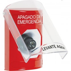 SS20A3PO-ES STI Red Indoor Only Flush or Surface w/ Horn Key-to-Activate Stopper Station with EMERGENCY POWER OFF Label Spanish