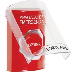 SS20A5PO-ES STI Red Indoor Only Flush or Surface w/ Horn Momentary (Illuminated) Stopper Station with EMERGENCY POWER OFF Label Spanish