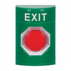 SS2105XT-EN STI Green No Cover Momentary (Illuminated) Stopper Station with EXIT Label English