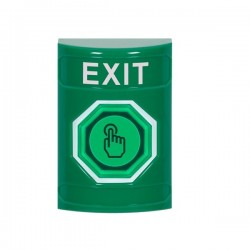 SS2106XT-EN STI Green No Cover Momentary (Illuminated) with Green Lens Stopper Station with EXIT Label English