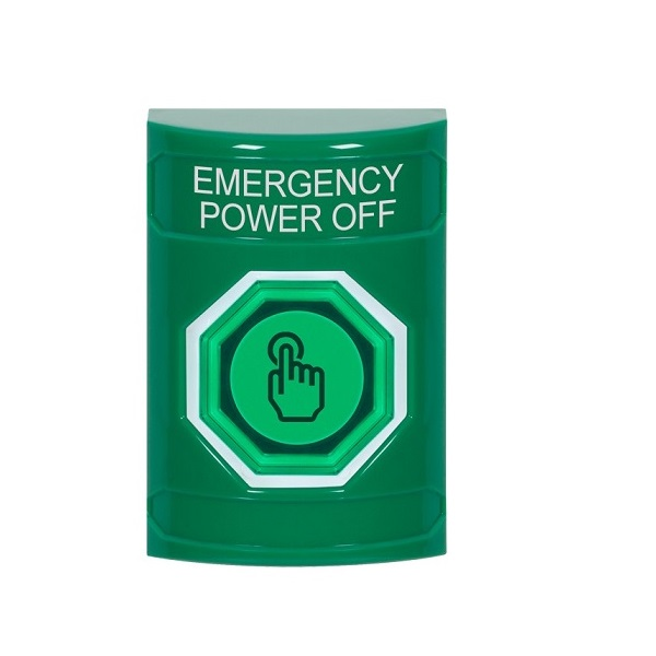 SS2107PO-EN STI Green No Cover Weather Resistant Momentary (Illuminated) with Green Lens Stopper Station with EMERGENCY POWER OFF Label English