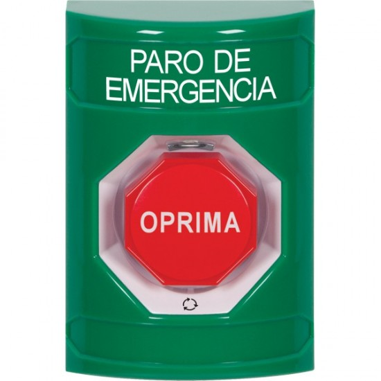 SS2109ES-ES STI Green No Cover Turn-to-Reset (Illuminated) Stopper Station with EMERGENCY STOP Label Spanish