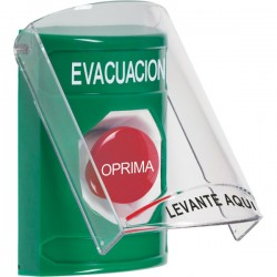 SS2124EV-ES STI Green Indoor Only Flush or Surface Momentary Stopper Station with EVACUATION Label Spanish