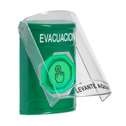 SS2126EV-ES STI Green Indoor Only Flush or Surface Momentary (Illuminated) with Green Lens Stopper Station with EVACUATION Label Spanish