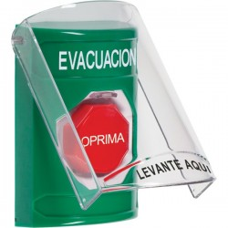 SS2128EV-ES STI Green Indoor Only Flush or Surface Pneumatic (Illuminated) Stopper Station with EVACUATION Label Spanish