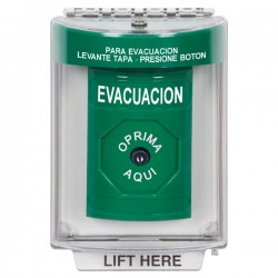 SS2130EV-ES STI Green Indoor/Outdoor Flush Key-to-Reset Stopper Station with EVACUATION Label Spanish