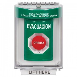 SS2131EV-ES STI Green Indoor/Outdoor Flush Turn-to-Reset Stopper Station with EVACUATION Label Spanish