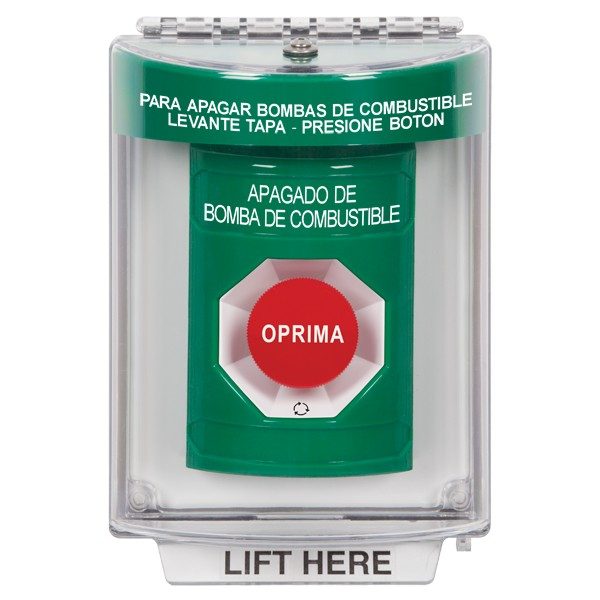 SS2131PS-ES STI Green Indoor/Outdoor Flush Turn-to-Reset Stopper Station with FUEL PUMP SHUT DOWN Label Spanish