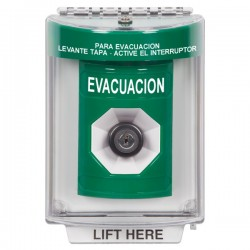 SS2133EV-ES STI Green Indoor/Outdoor Flush Key-to-Activate Stopper Station with EVACUATION Label Spanish